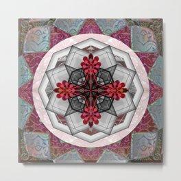 Celtic Rose Glass Boho Mandala Print Metal Print