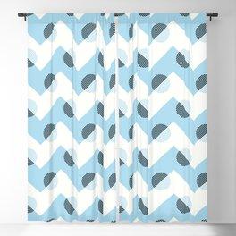 Horizons Geometric Mountain Waves Design 11 - Turquoise Blue Blackout Curtain