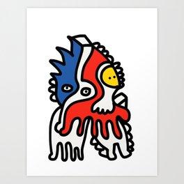 Mondrian Graffiti Art Creature by Emmanuel Signorino Art Print