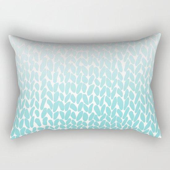 Hand Knitted Ombre Teal Rectangular Pillow