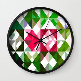 Pink Roses in Anzures 6 Abstract Triangles 1 Wall Clock