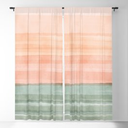 Soft Green Waves on a Peach Horizon, Abstract _watercolor color block Blackout Curtain