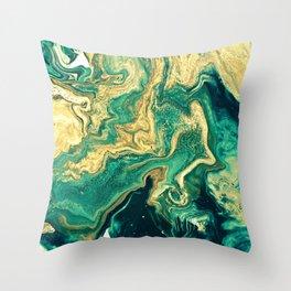 M A R B L E - emerald & brass Throw Pillow