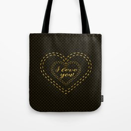 Elegant Gold Black Great Gatsby Hearts I Love You typography Tote Bag