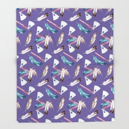 Watercolour Tribal Pattern with Feathers and Hatchets Throw Blanket