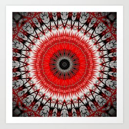 Bright Red White Mandala Design Art Print