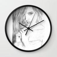 emma watson Wall Clocks featuring Emma by S'ANNie