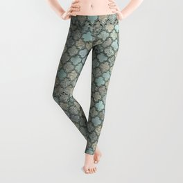 Old Moroccan Tiles Pattern Teal Beige Distressed Style Leggings