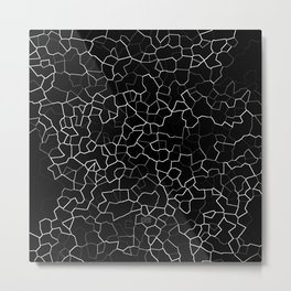 White on Black Crackle Metal Print