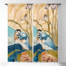 Retro Vintage Tiles Mandarin Duck Bird #2 Blackout Curtain