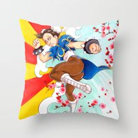 street fighter Throw Pillows featuring Chunli Street Fighter by Aimee Steinberger