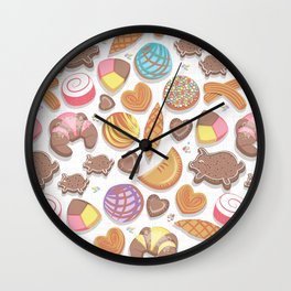 Mexican Sweet Bakery Frenzy // white background // pastel colors pan dulce Wall Clock