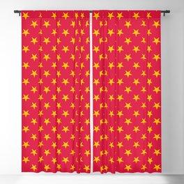 Amber Orange on Crimson Red Stars Blackout Curtain