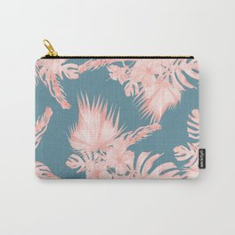 Tropical Palm Leaves Hibiscus Flowers Pink Blue Carry-All Pouch