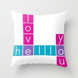 Hello I Love You Crossword Throw Pillow