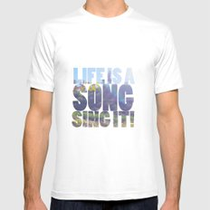 Life is a Song MEDIUM Mens Fitted Tee White