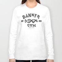 gym Long Sleeve T-shirts featuring Banner Gym by Mitch Ethridge