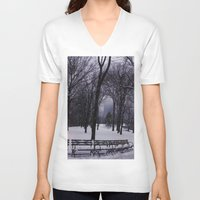 central park V-neck T-shirts featuring Central Park by Leah Moloney Photo