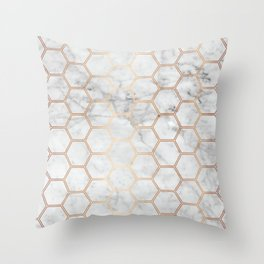 Honeycomb - Marble Rose Gold #358 Throw Pillow