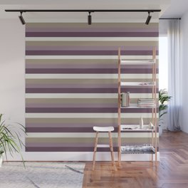 Stripes in Magenta, Lavender and Cream Wall Mural