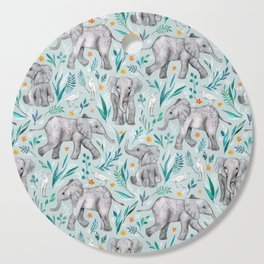 Baby Elephants and Egrets in Watercolor - egg shell blue Cutting Board