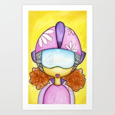 Aliem Space Explorer Girl Art Print