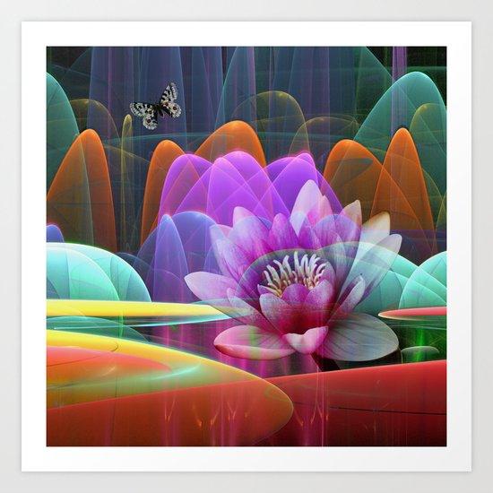 Lotus flower in a magical pool Art Print