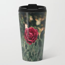 Single Red Rose In A Grassy Field With Bokeh Maple Leaves In The Background Travel Mug