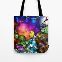 mandie manzano Tote Bags featuring Wonderland (Once Upon A Time Series) by Mandie Manzano