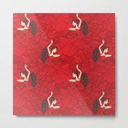 Seamless pattern with tango and flamenco dancers Metal Print