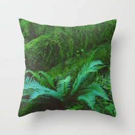 Mystical Green Fern Leaves in the Enchanted Forest Throw Pillow
