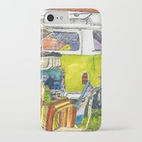 vw bus iPhone & iPod Cases featuring VW Bus Campsite by Barb Laskey Studio