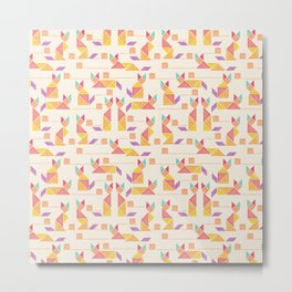 Tangram Cats Metal Print