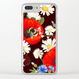 Red Poppy White Daisy Floral Kingdom Dark Sensual Flower Pattern Clear iPhone Case
