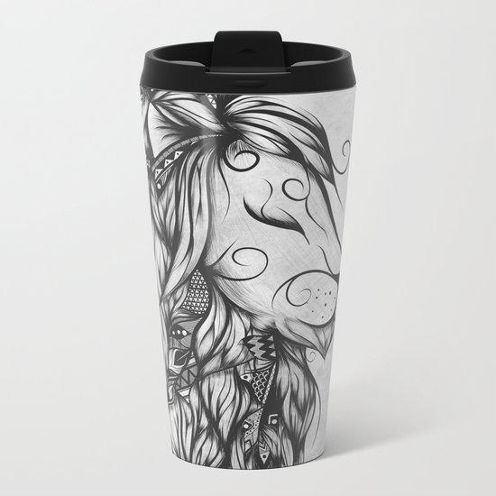 Poetic Lion B&W Metal Travel Mug