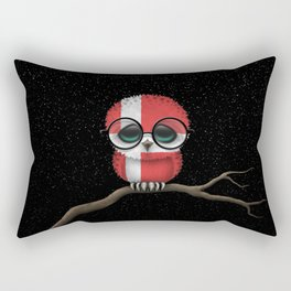 Baby Owl with Glasses and Danish Flag Rectangular Pillow