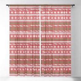 Merry Christmas Red and Green Sheer Curtain