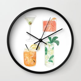 Colorful cocktails Wall Clock