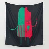 twins Wall Tapestries featuring Non-Identical Twins by Hector Mansilla