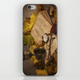 Memories in Autumn - old book glasses and watch still life iPhone Skin