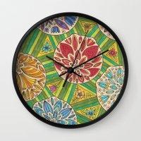 green pattern Wall Clocks featuring Green pattern by Lisidza's art