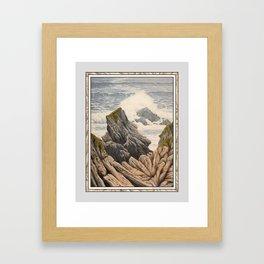 SOFT RAINY SEASCAPE MENDOCINO COAST OIL PAINTING Framed Art Print