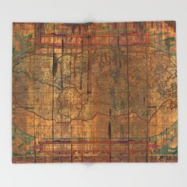 Distressed Old Map Throw Blanket
