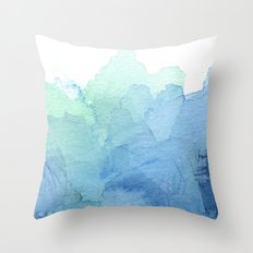 Abstract Watercolor Texture Blue Green Sea Sky Colors Throw Pillow