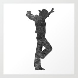 Flamenco Male Dancer Black Distressed Art Print
