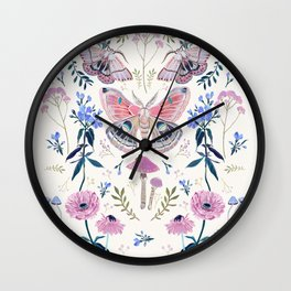 Lilac Butterfly and Flowers Wall Clock