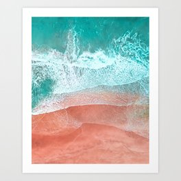 The Break - Turquoise Sea Pastel Pink Beach II Art Print