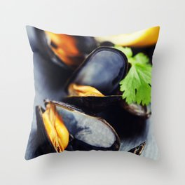 group of boiled mussels in shells Throw Pillow