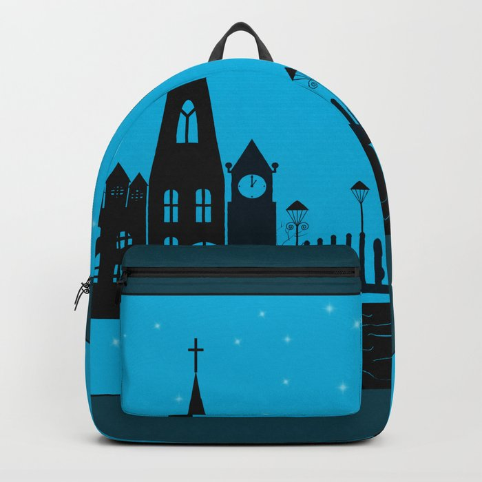 Winter night . Christmas. Backpack