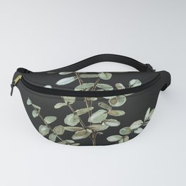 Baby Blue Eucalyptus Watercolor Painting on Charcoal Fanny Pack